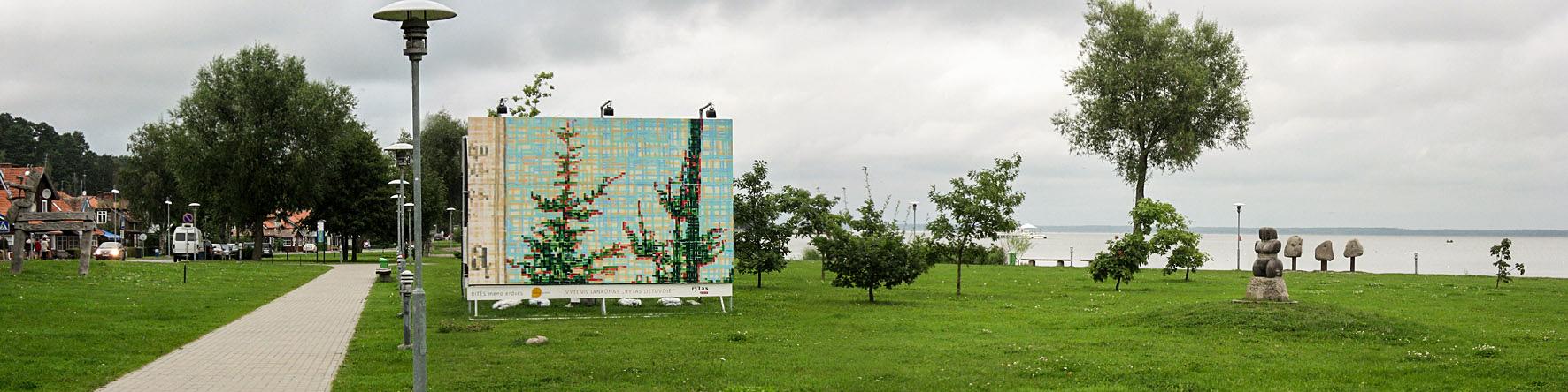 """Vytenis Jankūnas """"Rytas Lietuvoje,"""" 2011, acrylic paint on plywood. Shown on location in Juodkrantė, Lithuania"""