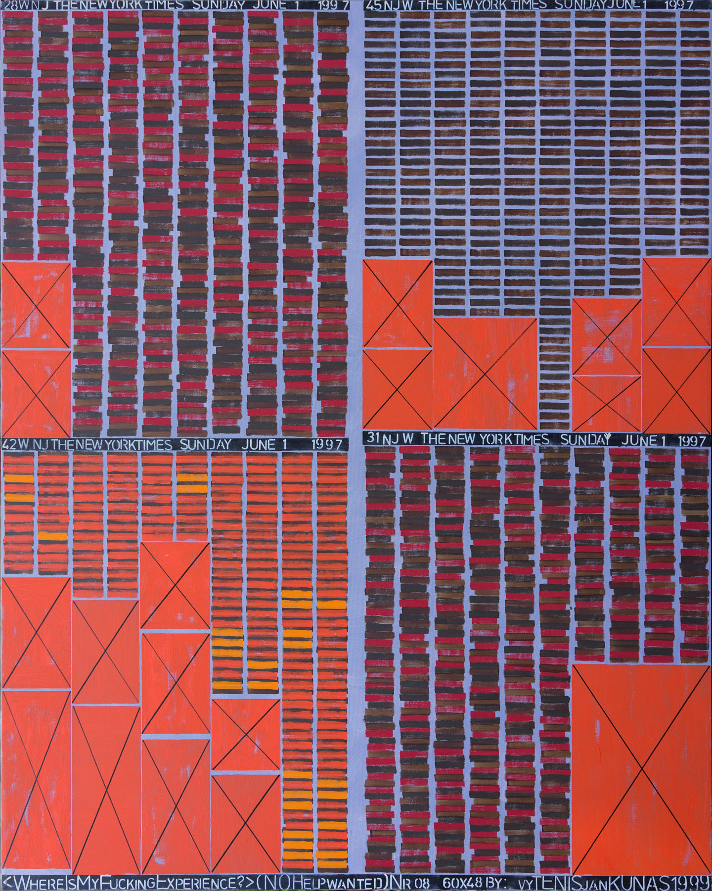 Where Is My Fucking Experience? #08 , 1999. Oil on canvas. 60X48 in.