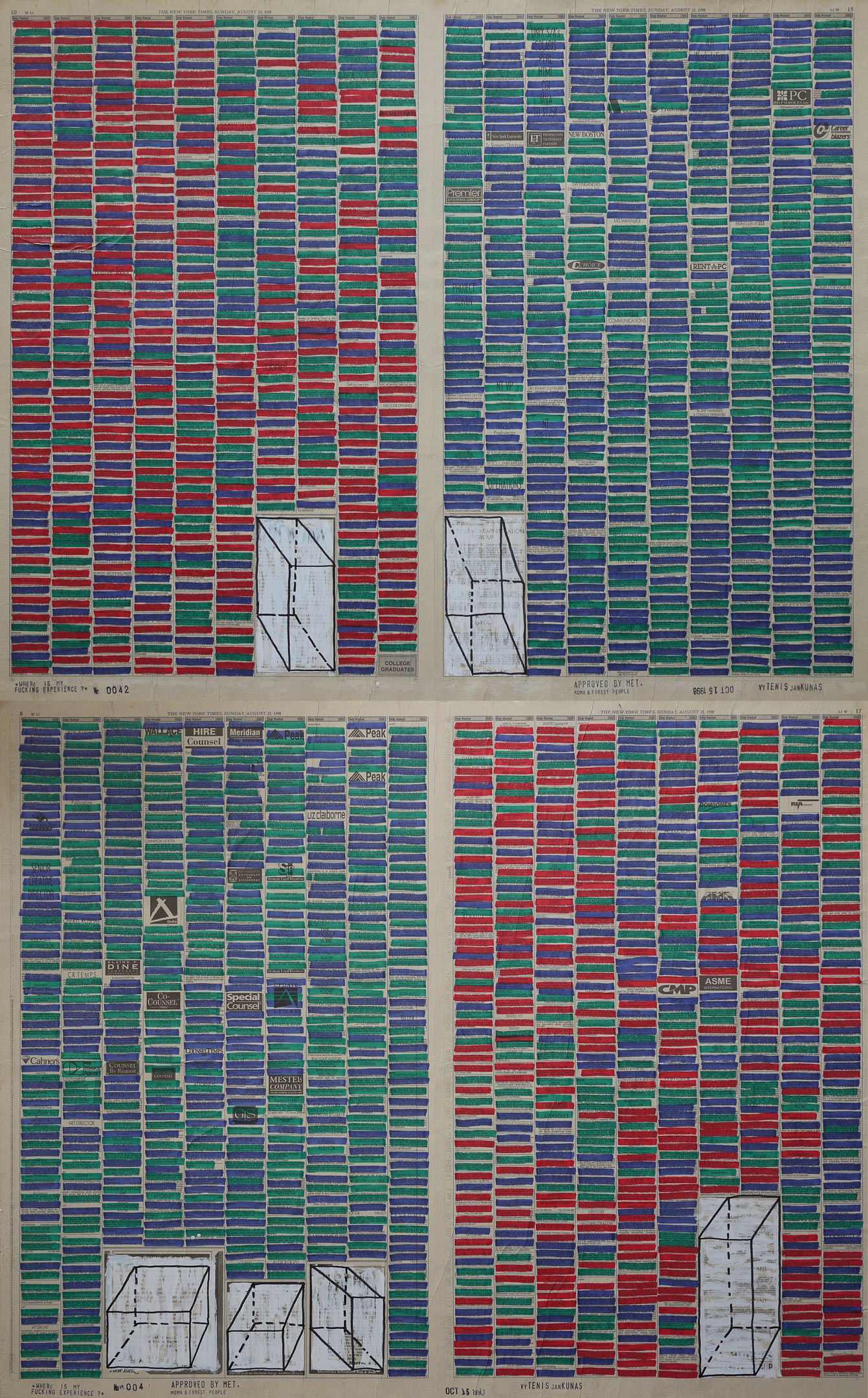Where Is My Fucking Experience? #0042 , 1998. Permanent markers and correction fluid on newspaper mounted on canvas.