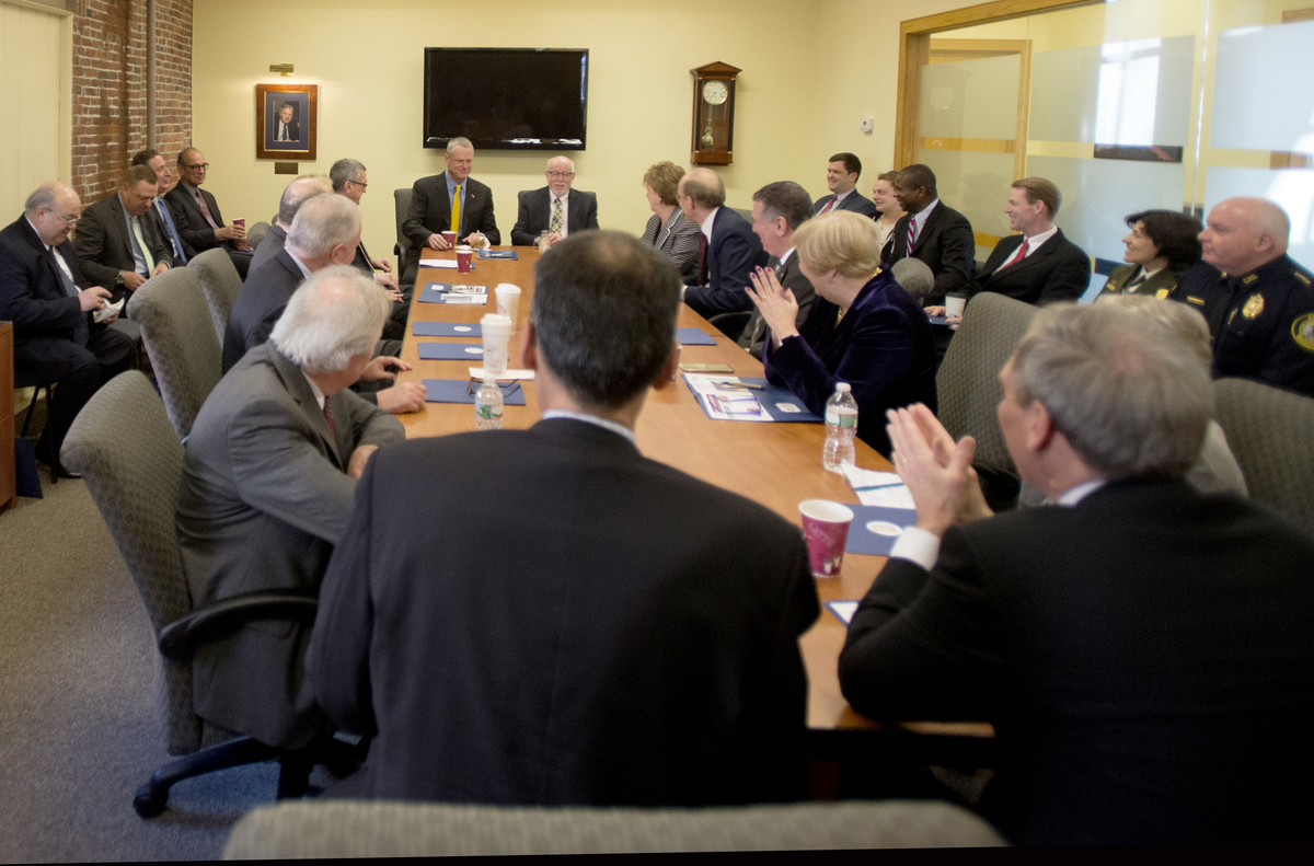 Governor baker attends Lowell Plan meeting on April 5. Photo by  Tory Germann