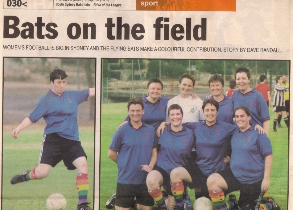 PHOTO: Sydney Star OBSERVER, 1 February 2007. RAINBOW FBFC SOCKS ARE INTRODUCED AROUND THIS TIME AND WORN IN MARDI GRAS.