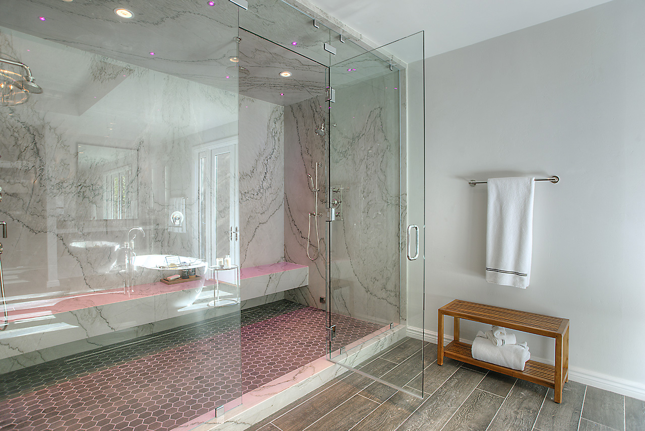 Check out the party room! This steam shower is also equipped with a fancy mood enhancing, color changing, lighting system! Isn't it gorgeous?!