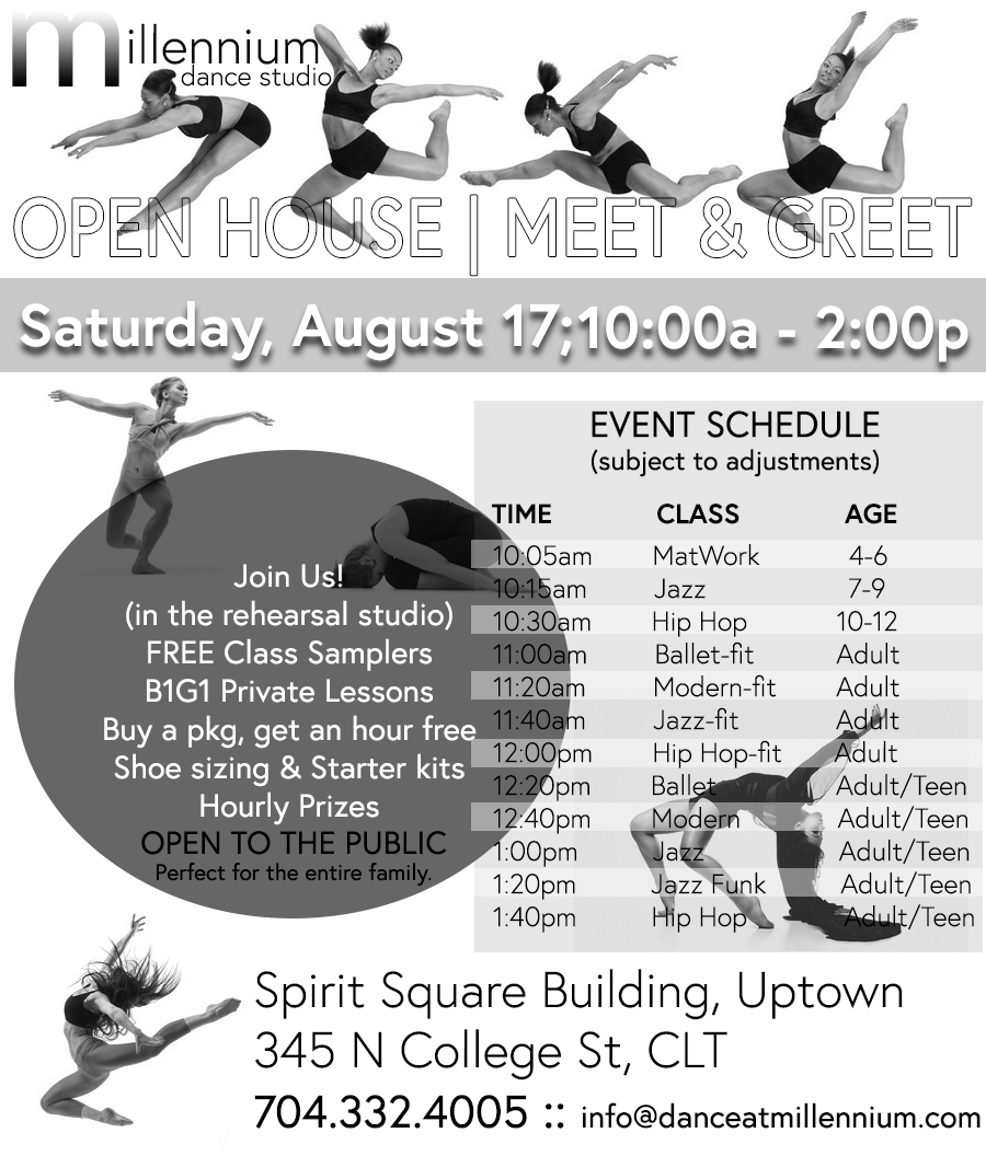 It's Here!!! - It happens once a year, so you don't want to miss out. Stop by or hang out with us the entire day. 12 Free Classes : Ages 4 - adult. No experience necessary or dancewear required to participate. Fun for the entire family. Special Pricing On Everything!Add'l surprises throughout the day!Discounts will go live 8/17 @ 9a edt