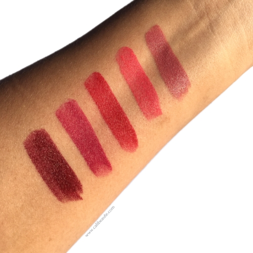 Swatches from R-L: Blow, Boy Gorgeous, Dashing, So Sofia, and Infamous