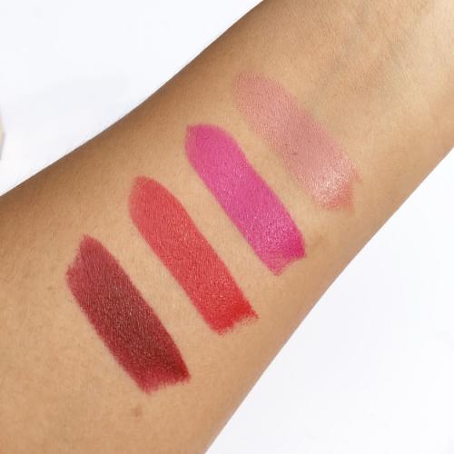 L-R: Black Red (71), Le Rouge (01), Le Fuchsia (19), Le Nu (70)