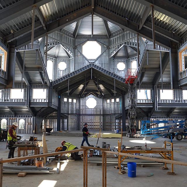Galvanized beauty. A view from inside the new addition at SEAS.  #construction #builder #craftsman #keepthecraftalive #catholic
