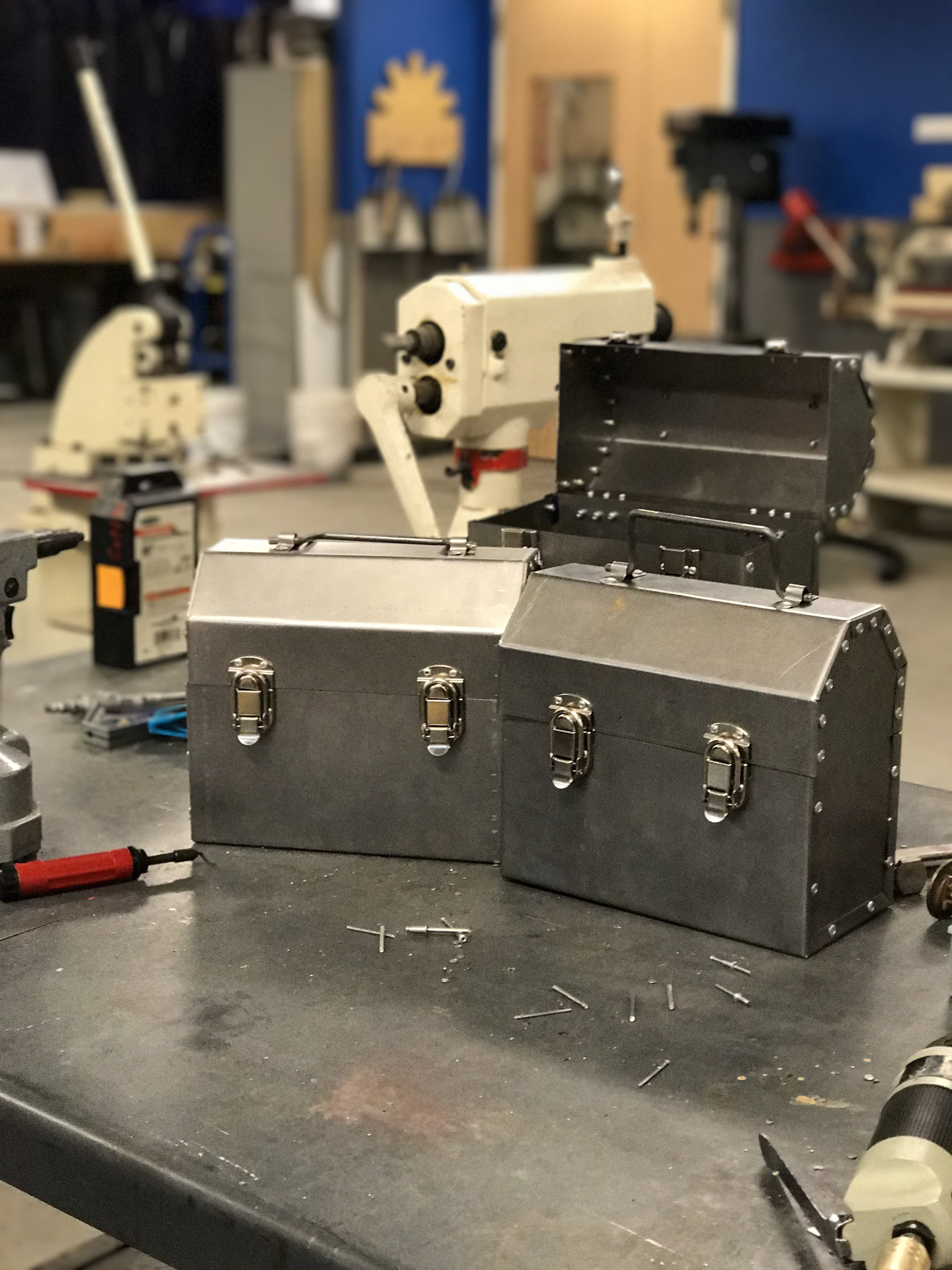 Lunchbox for Proposed TechShop Class Project, 2016; Steel, Latches, Rivets; 11x14; Pittsburgh, PA