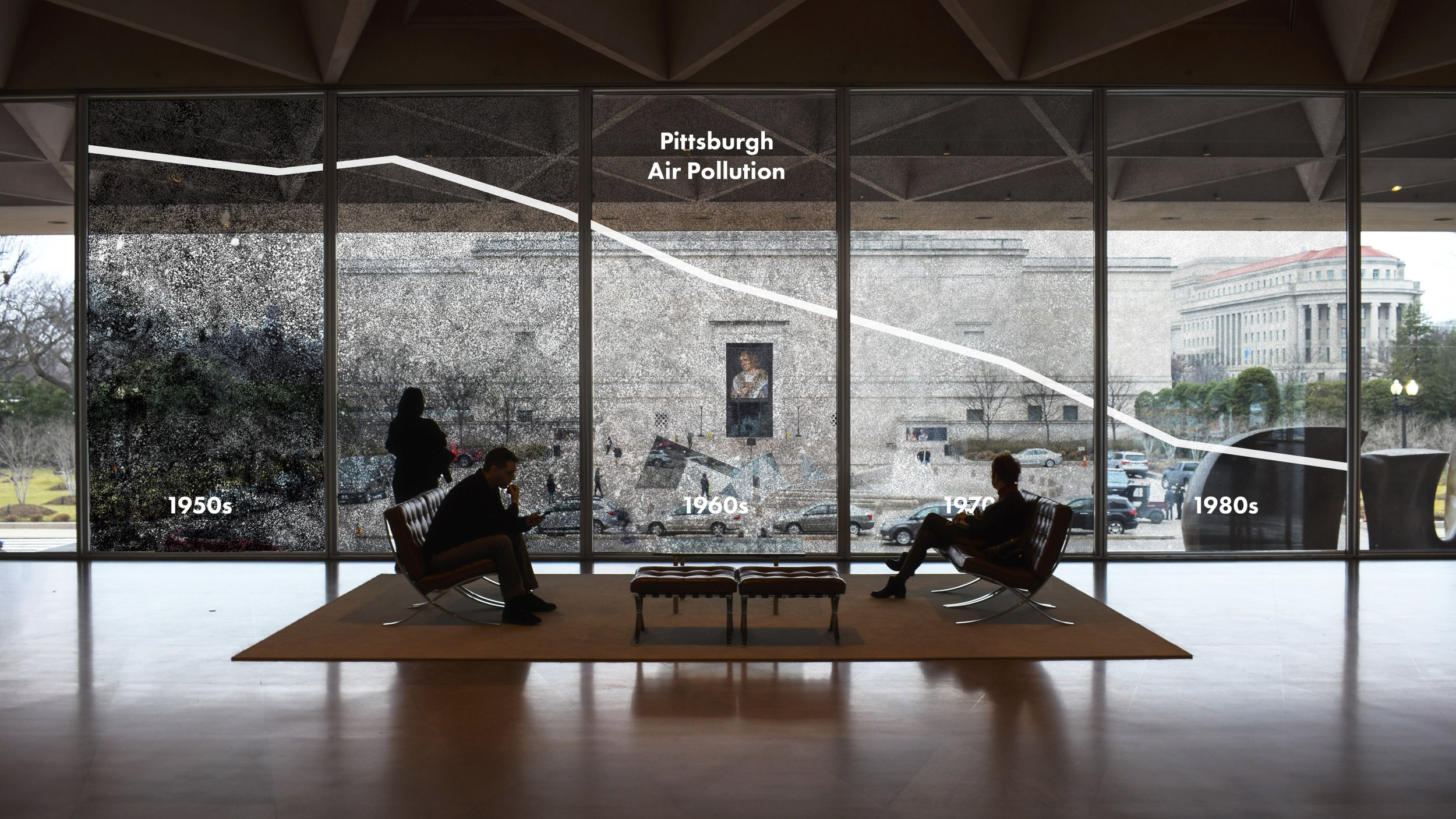 This rendering depicts the ideal installation of our proposed in-school installation. This window vinyl represents air quality at a 10x scale, allowing viewers to stand in different decades and observe what the air quality would have been like at that time.
