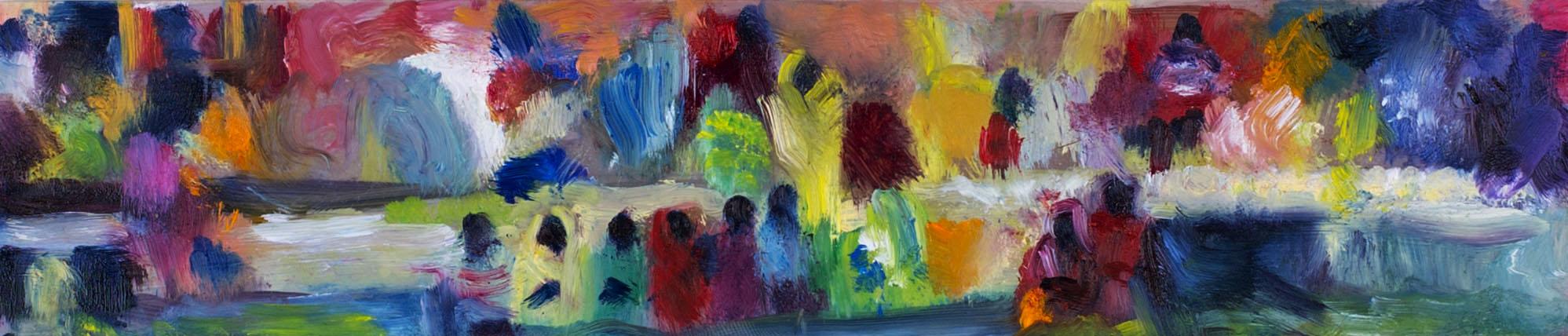 "Medium:  Oil Paint on Mylar   Dimensions:  8½""x2½"""