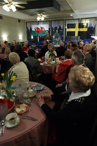 A large group of Welsh enthusiasts enjoy the traditional celebration.