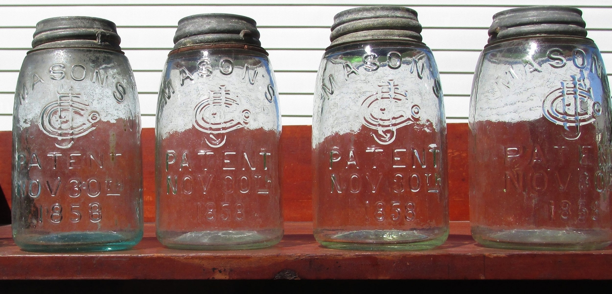 Mason Jars:  Among the many remarkable items in the holdings of the Historical Society are many home canning jars from the nineteenth and twentieth centuries, including some remarkable green jars from the mid-nineteenth century. These jars have all come from houses in the Carbondale area.
