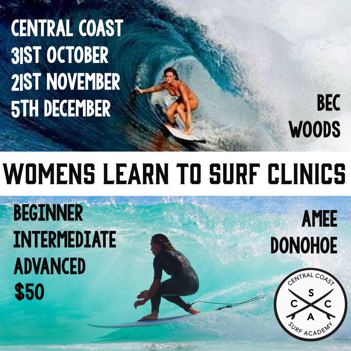 Upcoming Surf into Summer clinics will run on the above dates on the best banks between Macmasters Beach and Avoca, on the NSW Central Coast. Limited numbers.    Call : Central Coast Surf Academy for bookings   on     0426 277 742.