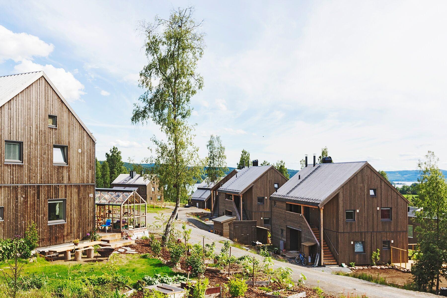 Hurdal økolandsby - Prosjekt med 5 trinn. Trinn 1 er ferdigstilt, tilsammen vil landsbyen bestå av ca. 200 boliger, en gård med160 000 m2 dyrket mark og et økologisk næringsenter.