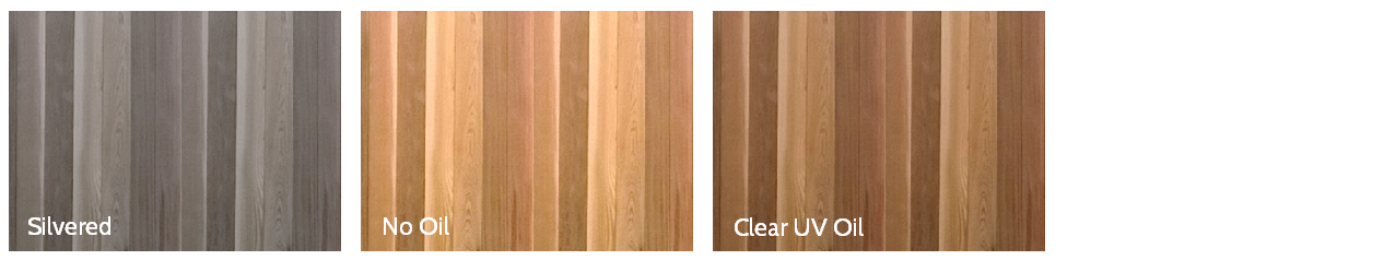 Clear UV Oil - Provides increased protection to all timber against bleaching to silvery grey caused by the sun's UV rays. As an additional benefit, this clear pigment-free oil also brings out the natural colours of the wood and provides greater lustre to the exterior finish. Two coats of clear oil is an option for any exterior timber cladding.