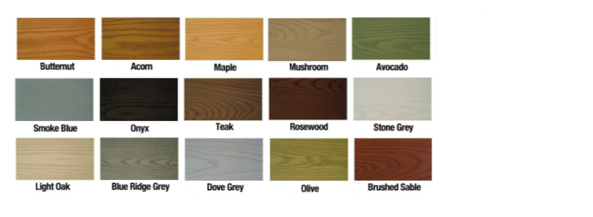 Exterior Translucent Colours - Available for all timber options to add colour across the whole structure, or as accent details to vertical areas, around windows and door and also decking. These stains are translucent oils meaning they preserve the visible grain pattern of the timber and at the same time provide an overall colour to the exterior and produce matching or contrasting combinations with the windows and doors.