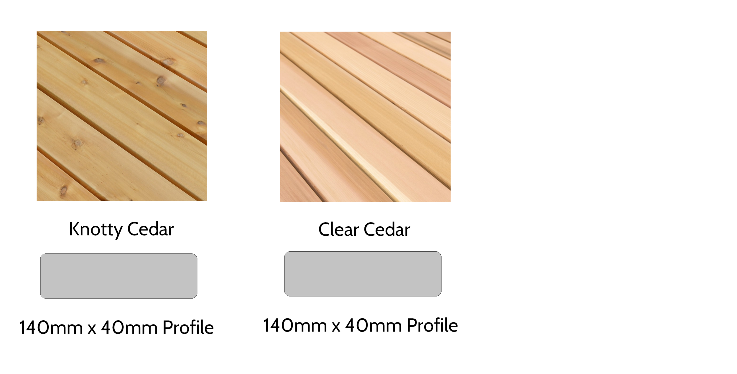 Cedar Decking - Available in knotty and clear grades with an anti-slip treatment. Matches perfectly to cedar clad garden rooms and with a very long life expectancy due to the natural properties of cedar.
