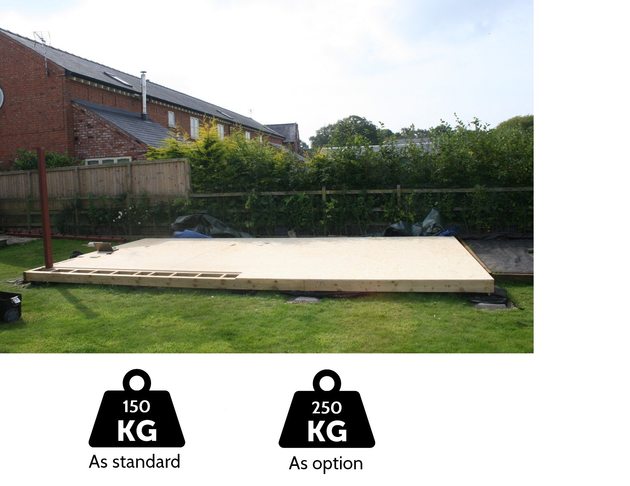 Floor Loading Capacity - The floor structure and foundation systems for all of our garden rooms are designed as standard to take loads up to 150 kgs per square meter, which is the same design load required for a residential home.  This ensures a solid feel to the floor structure and plenty of loading capacity for people and the largest of furniture for everyday use. As home gyms have become more popular over the last few years, we can offer an upgraded floor strength option.  This increases the loading capacity of the floor and the foundation system to 250 kgs per square meter, to meet extra loading requirement associated with a home gym.