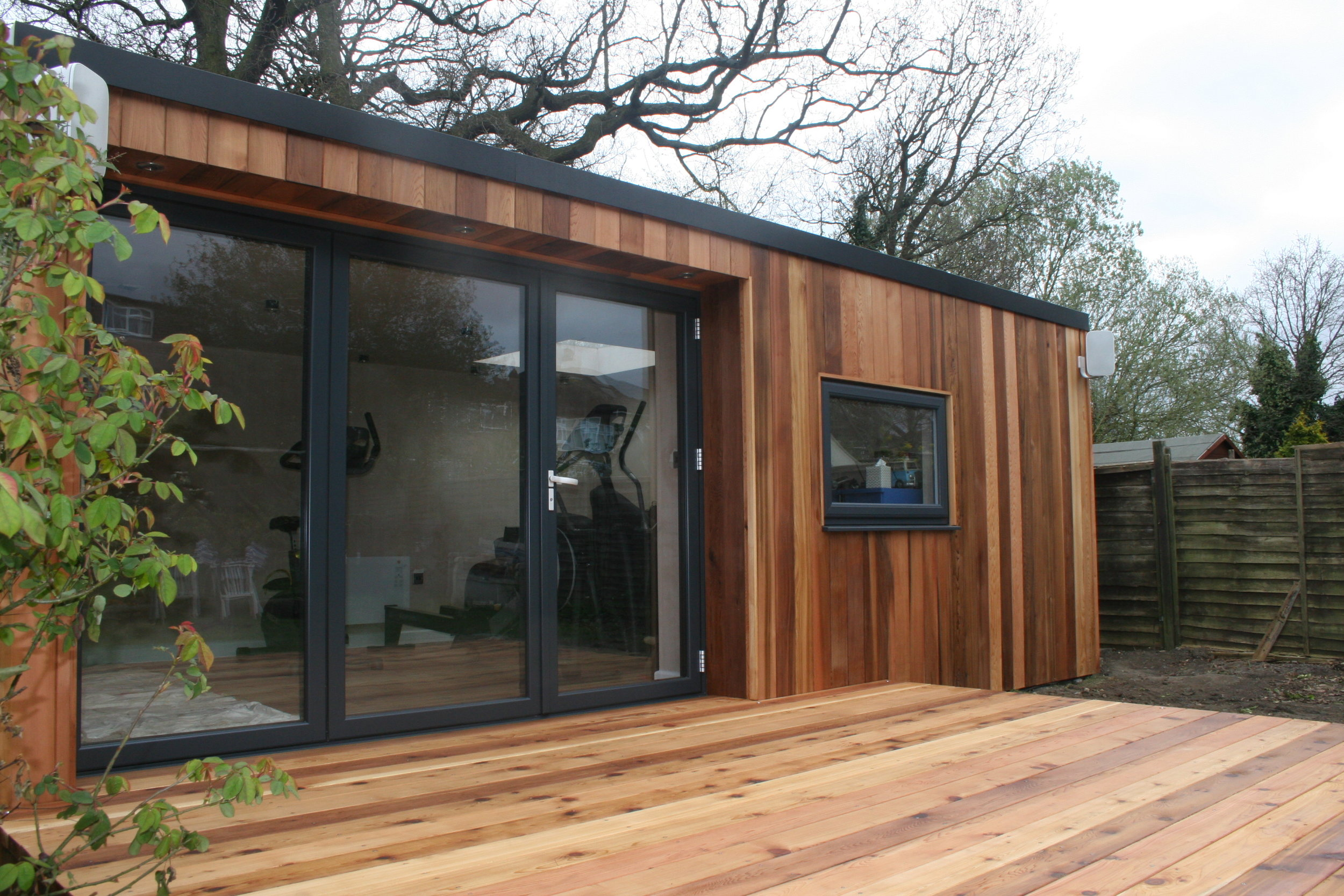 A Typical Build Diary - Build times vary typically between 7-12 working days, depending on the size and specification of the garden room.This build was completed within 12 working days.Features:6.6m x 3.9m Garden RoomConcrete Plinth & Steel Leg FoundationsVertical Cedar Cladding With UV Protector3m Aluminium Bi-folding Door1.2m x 1.2m Skylight3.9m x 3m Cedar Decking