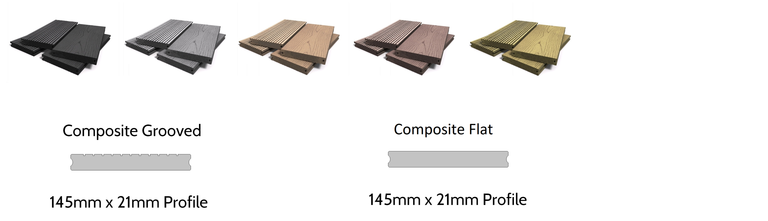 Composite Decking - Available in a none slip micro-grooved or flat finish and also in a choice of 5 colours. Matches well to most cladding types, in particular, composite cladding options. Due to the nature of this product, it has a very long life expectancy.