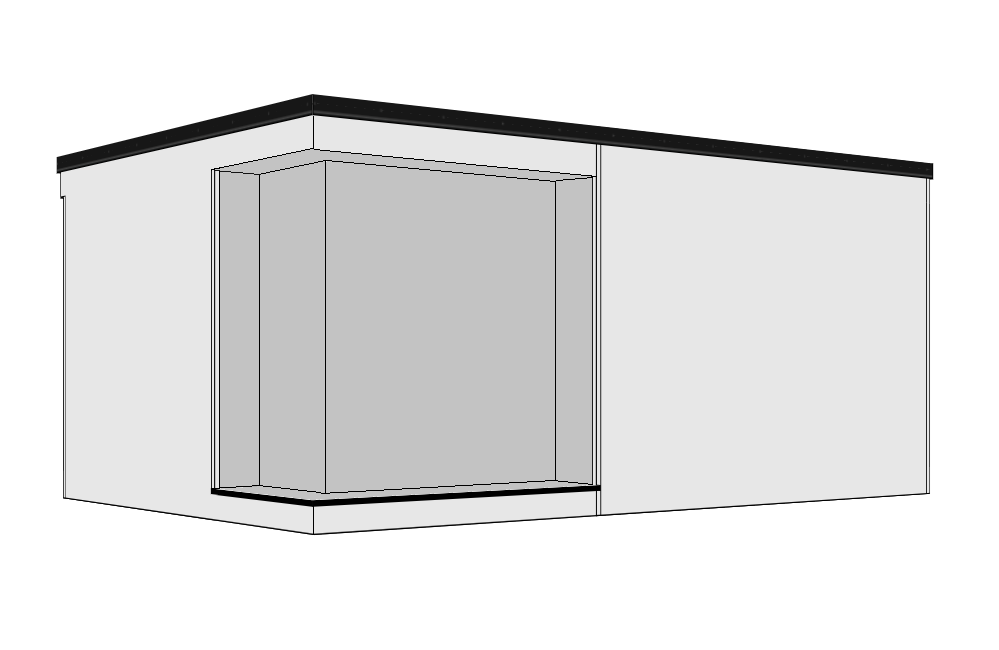 Recessed Door &Corner Window - A 300mm recessed overhang is created to the front aspect, together with a decked step running part way across the building. Entrance doors from 0.9m to 4.2m are available to fit into the recess with the addition of a recessed corner aspect window. Available as right or left hand versions.
