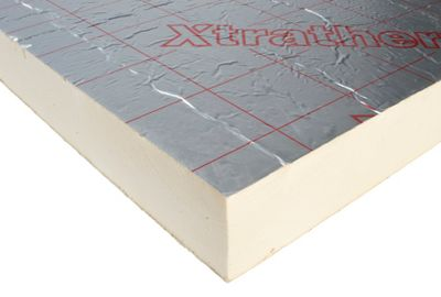 Polyurethane Insulation - Abbreviations: PUR, PIR.Brands: Kingspan, Celotex, Xtratherm.Appearance: Available in ridged boards in an off white core colour. Sometimes with a foil face or felt face. Denser than polystyrene insulation.Thicknesses: 50mm – 200mm typically.Pros: + Performs very well as an insulation material when compared to other materials of the same thickness + Used in SIP panels.Cos: - Medium to high cost insulation material - Needs cutting to fit which increases install times.