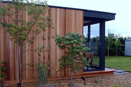 Cladding - Cladding is probably one of the areas where you can make the most visual impact for your contemporary garden room. Any layout of garden room can be externally finish in any one of our available cladding materials, popular natural timber choices are cedar, larch and thermwood and also composite options for a completely maintenance free finish. Cladding boards can be installed vertically or horizontally depending on your personal preference and can be specified in different board widths and cladding profiles.