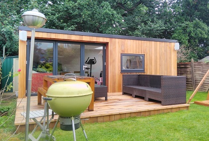 Decking - Adding a deck area to your garden room provides an additional new space to enjoy during the summer months. We have a selection of decking materials available to match your cladding choice and budget. All flat profile decking is inclusive of an anti-slip treatment and all decking packages are inclusive of the additional matching cladding required to complete the sides of your decking area and the required foundations.