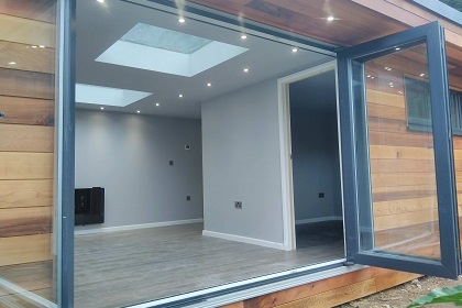 Skylights - Skylights are a great way to flood the inside of your new space with natural light and a popular option. Double glazed, argon filled, roof lights with self-cleaning glass, fully compliment within the 2.5m height limit and available on all garden room designs in different sizes.