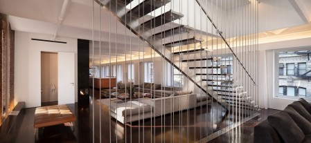 open-plan-broadway-loft-also-chrome-steal-balustrade-as-well-as-hanging-staircase-ideas-plus-modern-living-room-idae-and-brown-leather-bench-sofa-location-1434375205.jpg