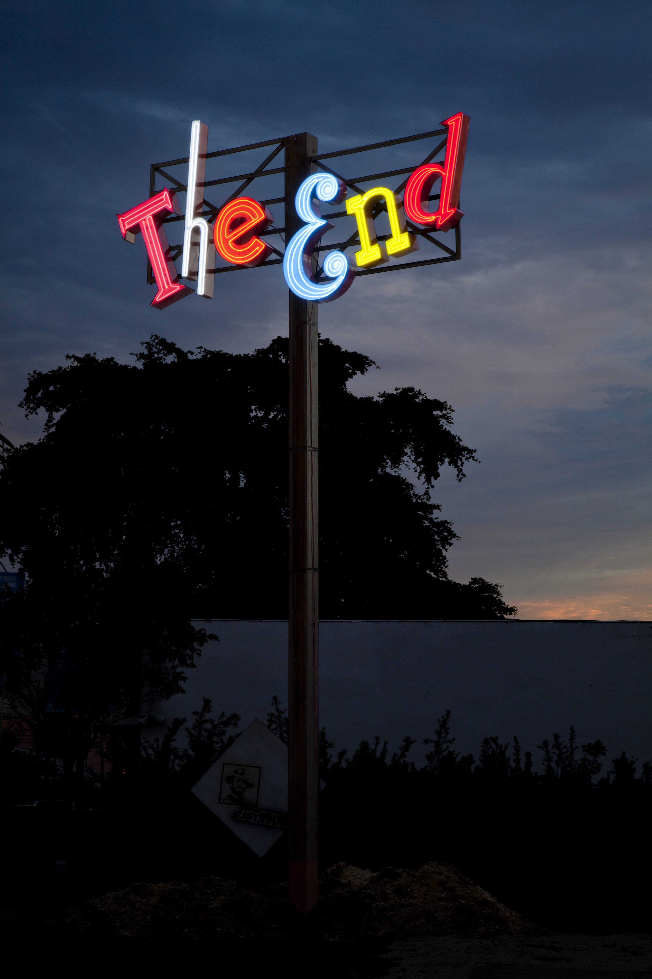 In the End It's Not the Years of Your Life That Count But the Life in Your Years  (2013), a site-specific installation in Miami for the duration of December 2013. Neon and steel; 108 x 60 in. (neon), 36 x 108 in. (steel frame), 300 x 5 in. (pole). ( photo : Dawn Blackman)