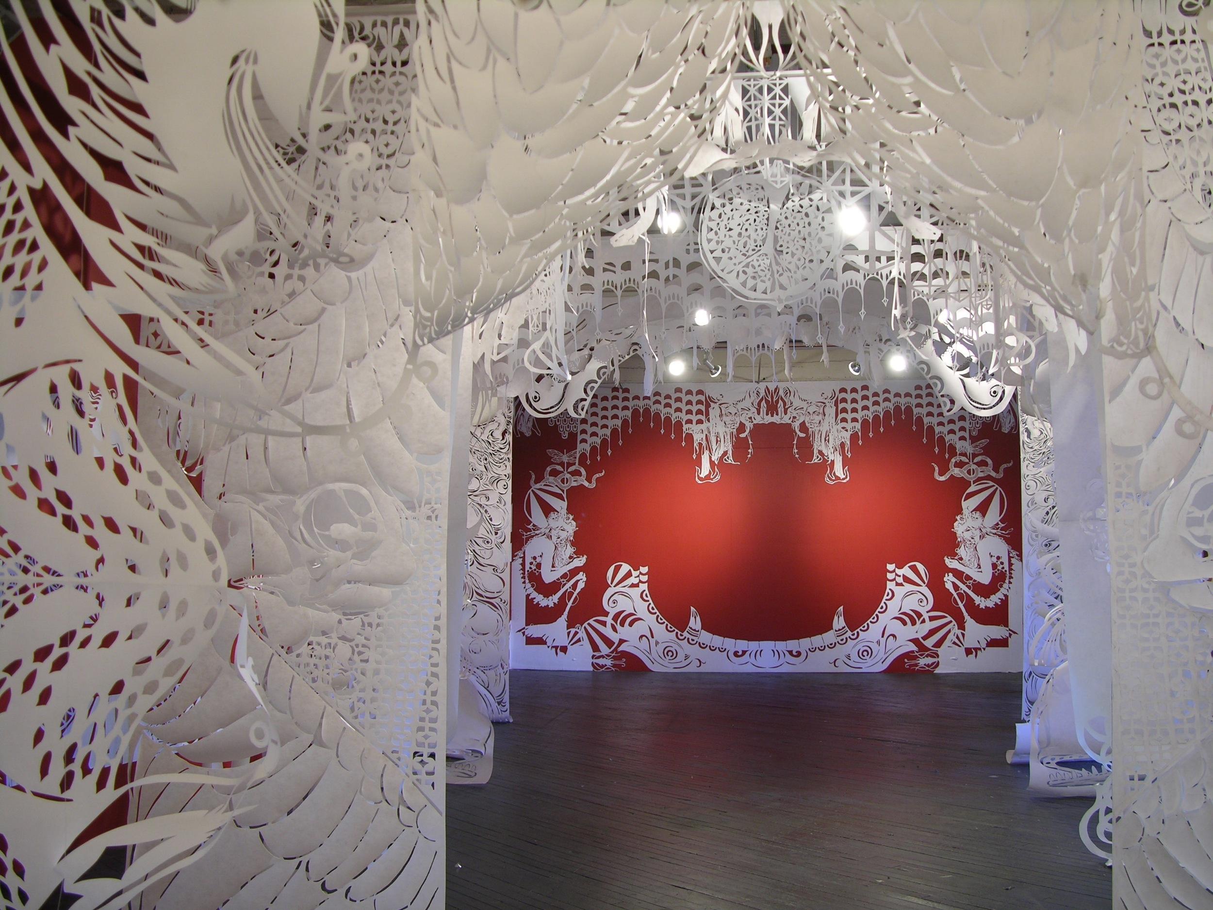 Installation of  La Boca del Lobo  (2006), a collaborative exhibition at Philadelphia's Black Floor Gallery. ( Photo : Tod Seelie)