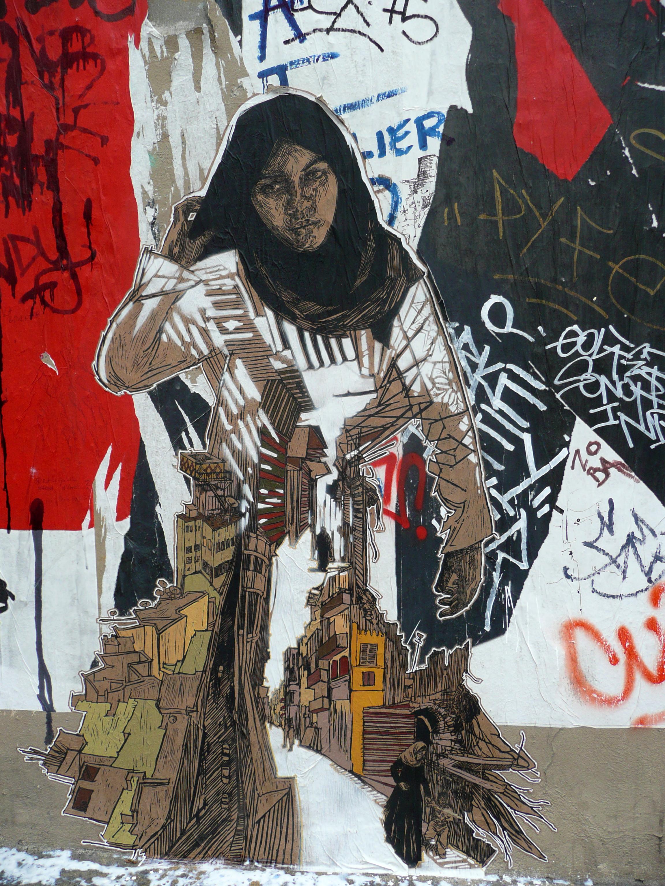 "A 2010 Paris street paste of ""Cairo"" ( Photo : Swoon Studio)"