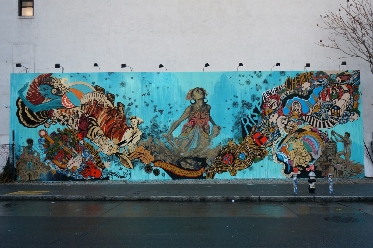 Sea goddess Thalassa at the centerpiece of Swoon's 2013 piece for the Goldman family's Bowery Mural Wall, which reacted to the local devastation of Hurricane Sandy.