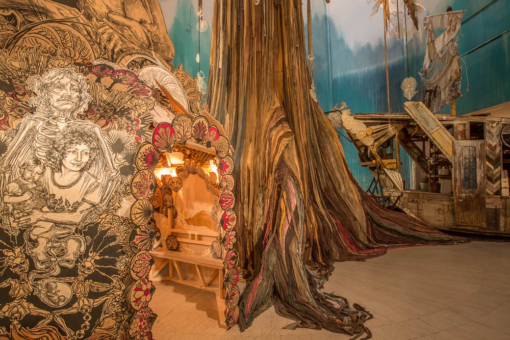An immersive shelter within  Submerged Motherlands at the Brooklyn Museum,2014. ( Photo : Tod Seelie)