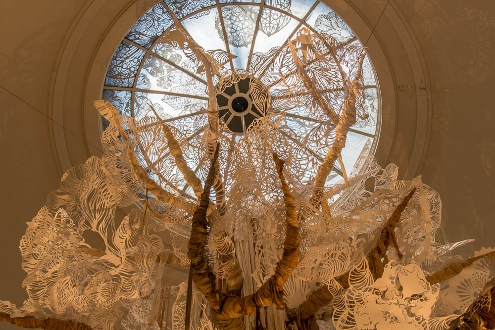 When the Brooklyn Museum asked Swoon to do a site-specific installation, she chose to do it in the rotunda because of its architectural specificity. ( Photo : Tod Seelie)