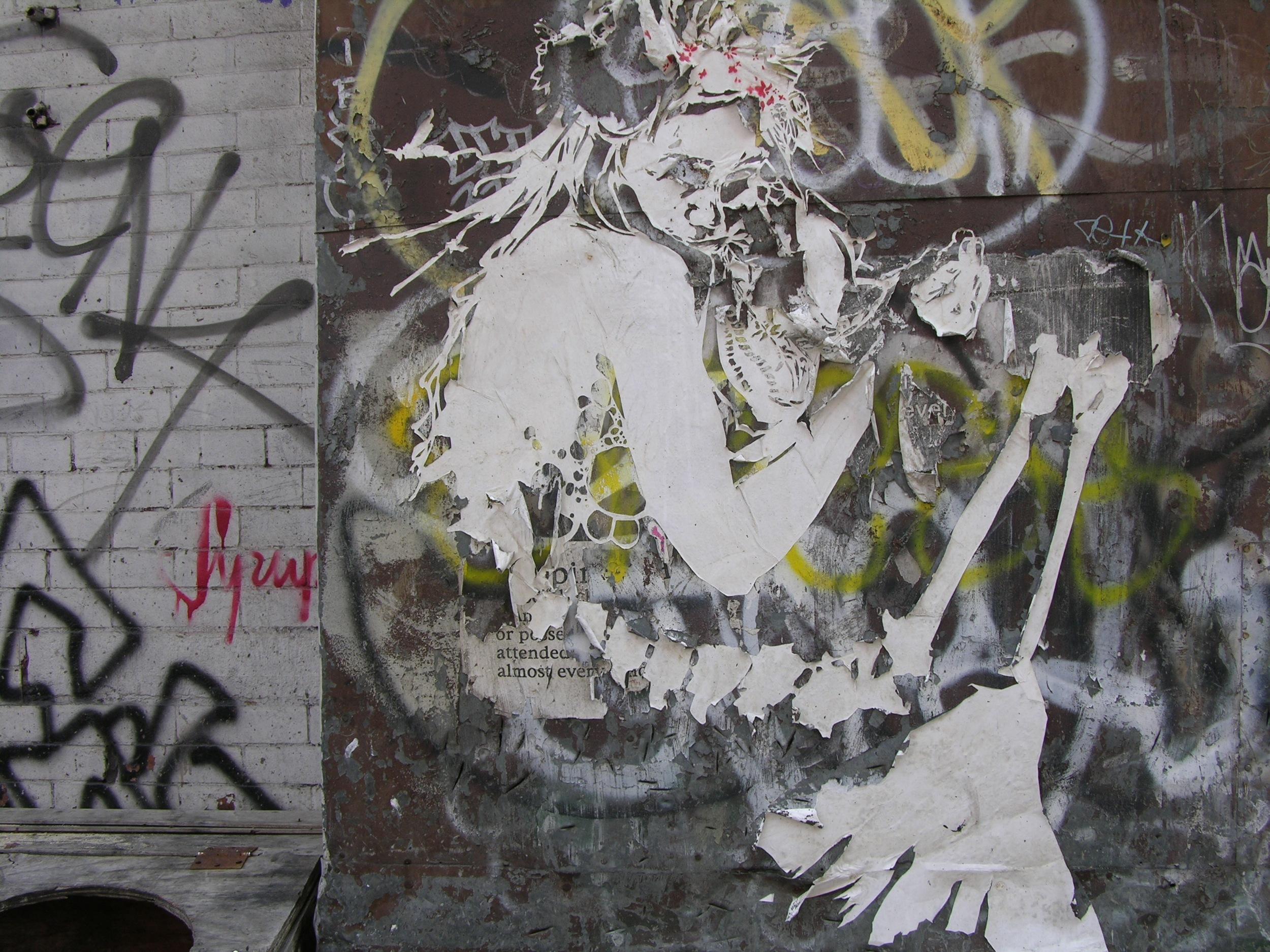 """A 2006 """"Miss Rockaway"""" paste on New York's Lower East Side.( Photo : Swoon Studio)"""