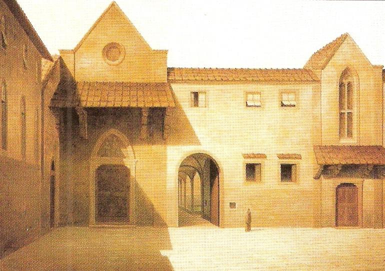 L'antica facciata dell'ospedale di Santa Maria Nuova in una tela di Fabio Borbottoni (1820-1902).