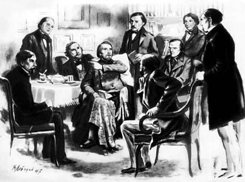 Il circolo Belinskij: Da sinistra verso destra:?, Gončarov, Turgenev, Belinskij, Nekrasov,?, Dostoevskij, che discute con Belinskij, Grigorovič,?