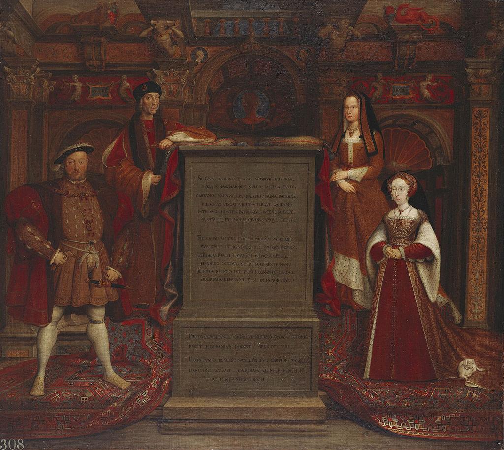 Riproduzione ad olio di un affresco di Hans Holbein rappresentante (da sinistra a destra) Enrico VIII, Enrico VII, Elisabetta di York (madre di Enrico VIII) e Jane Seymour.