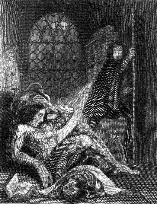 Incisione di Theodore von Holst per il frontespizio dell'edizione di  Frankenstein  del 1831.