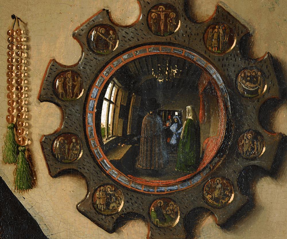 Jan van Eyck, 1434,  Ritratto dei coniugi Arnolfini , dettaglio: i testimoni sono visibili nello specchio; fra loro l'autore.