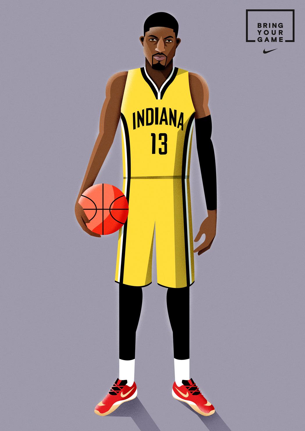 freelance illustrator dale edwin murray nike basketball all star illustration