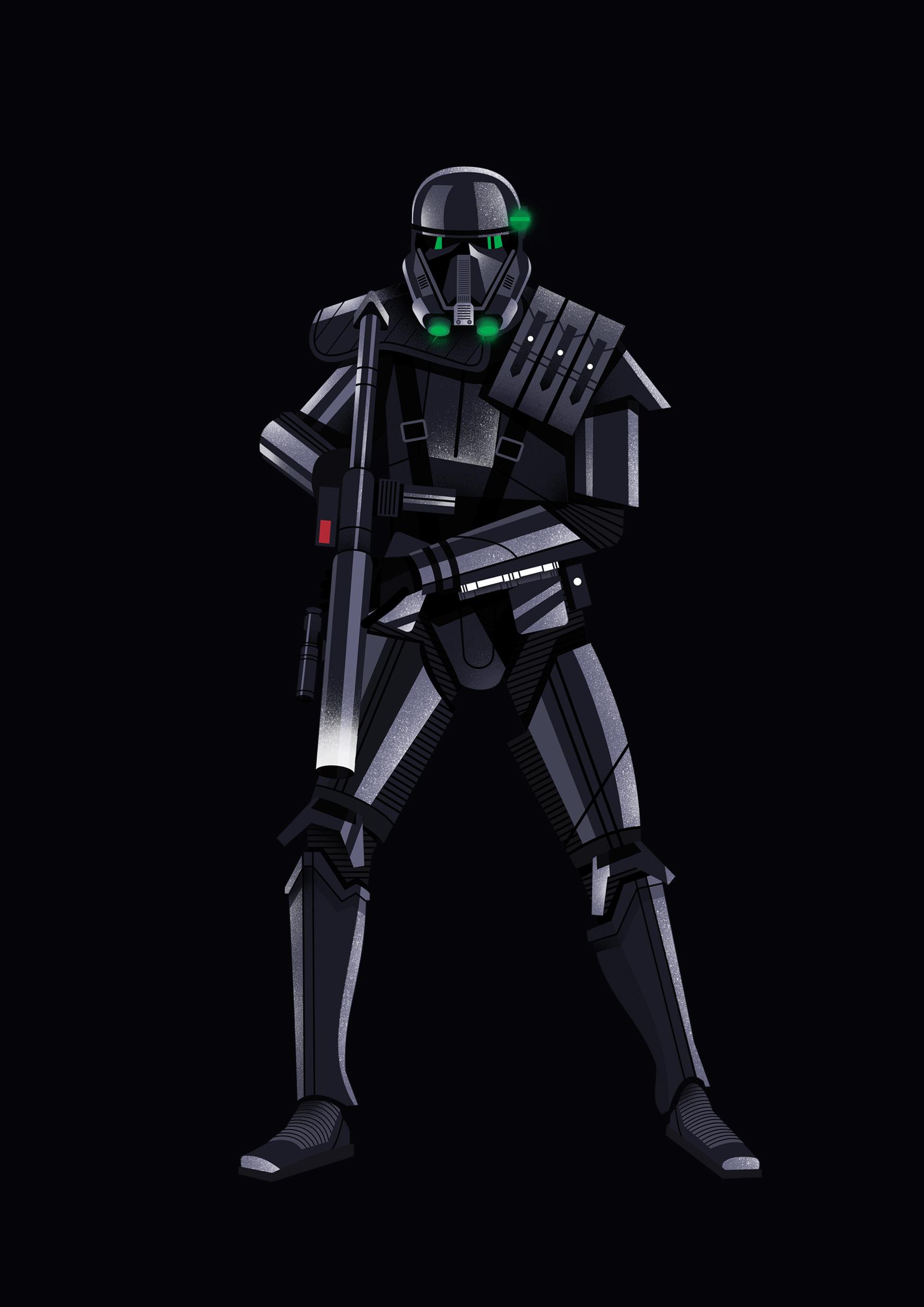 freelance illustrator dale edwin murray star wars rogue one disney complex illustration death trooper