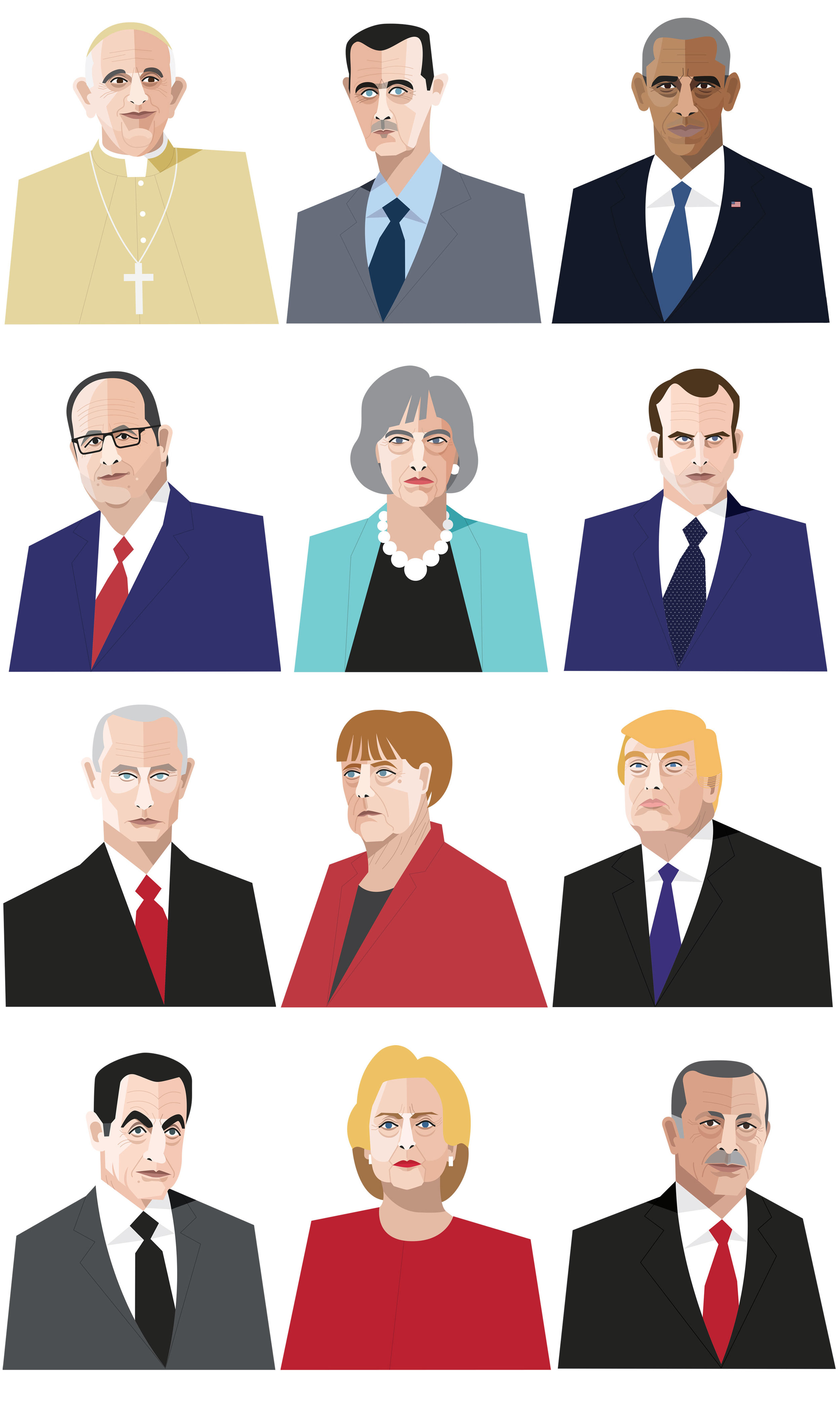 Freelance illustrator dale edwin murray liberation newspaper portraits france french illustration