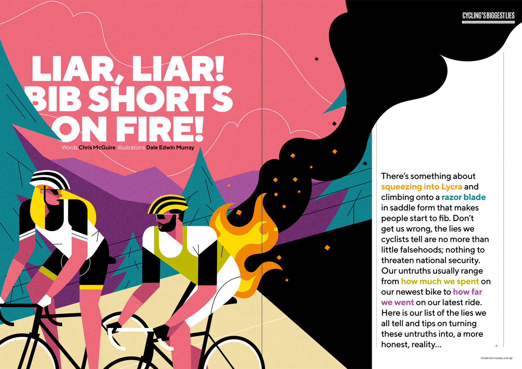 dale edwin murray freelance illustrator cycling plus magazine illustration
