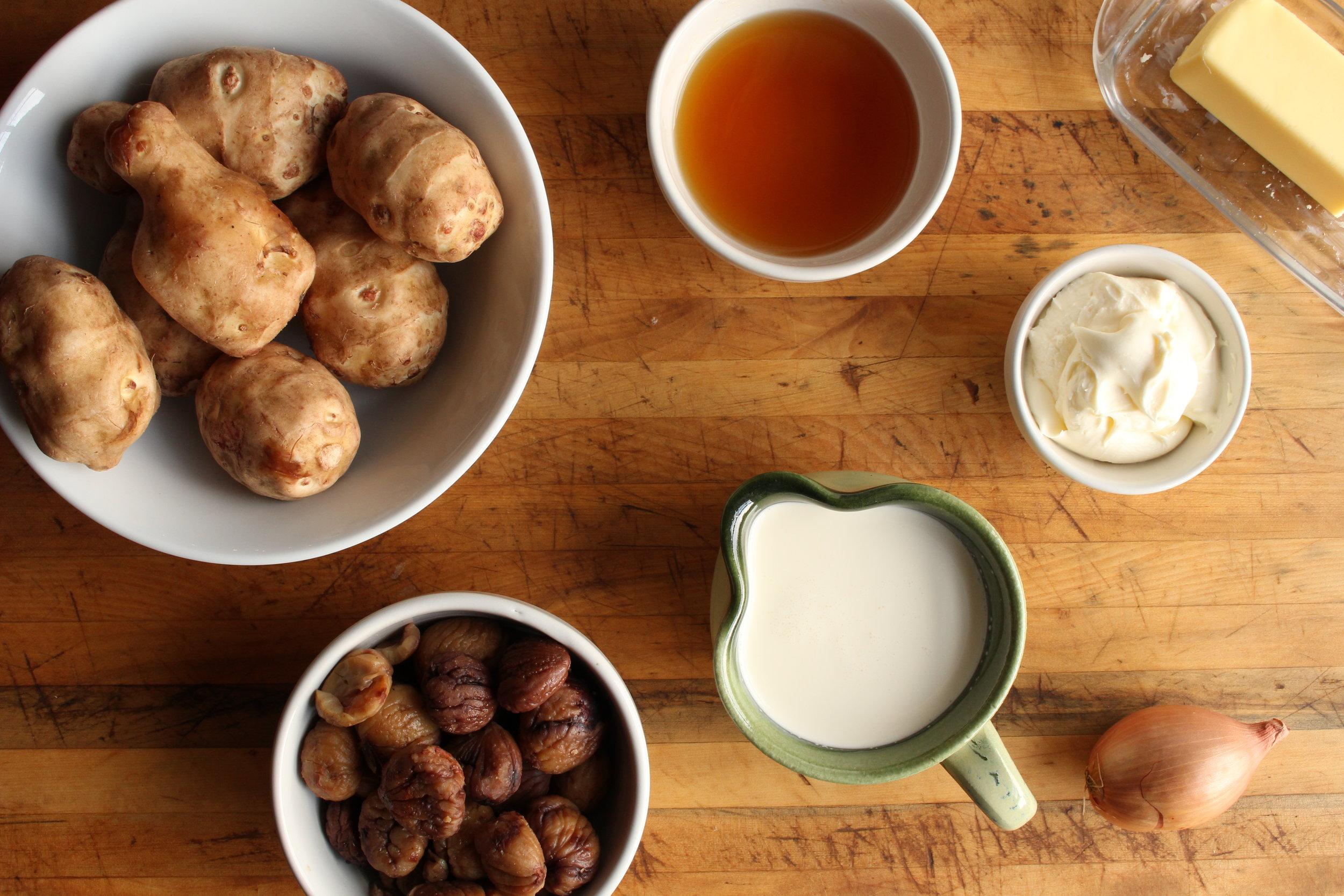 Sunchoke cloud soup with chestnut puree mise en place