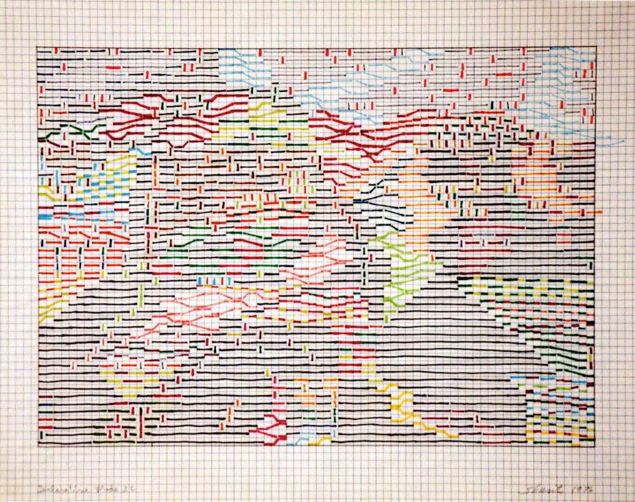 Paul Sharits,  Declarative Mode  drawing, 1976 Image courtesy of the Burchfield Penney Art Center, Buffalo, NY
