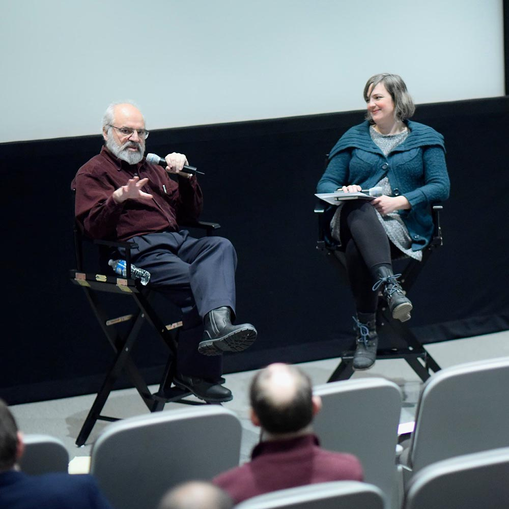 Hamid Naficy and Michelle Puetz in conversation following  Dig This!: Films by Hamid Naficy  at the Block Museum of Art. Photo ©Sean Su, Mary and Leigh Block Museum of Art, Northwestern University.