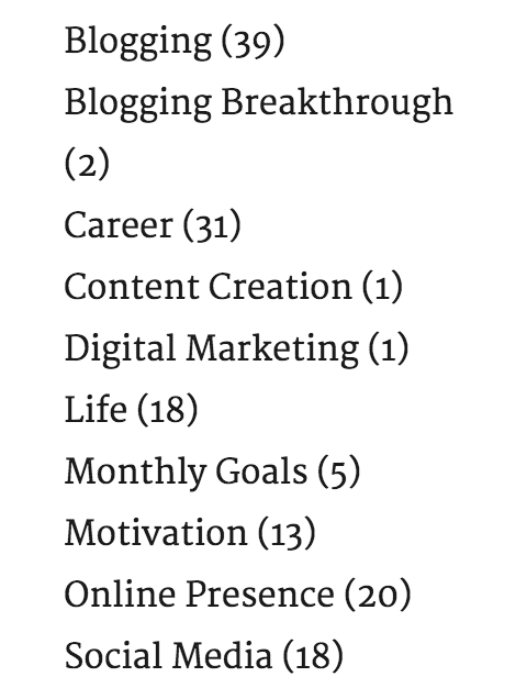 blog categories