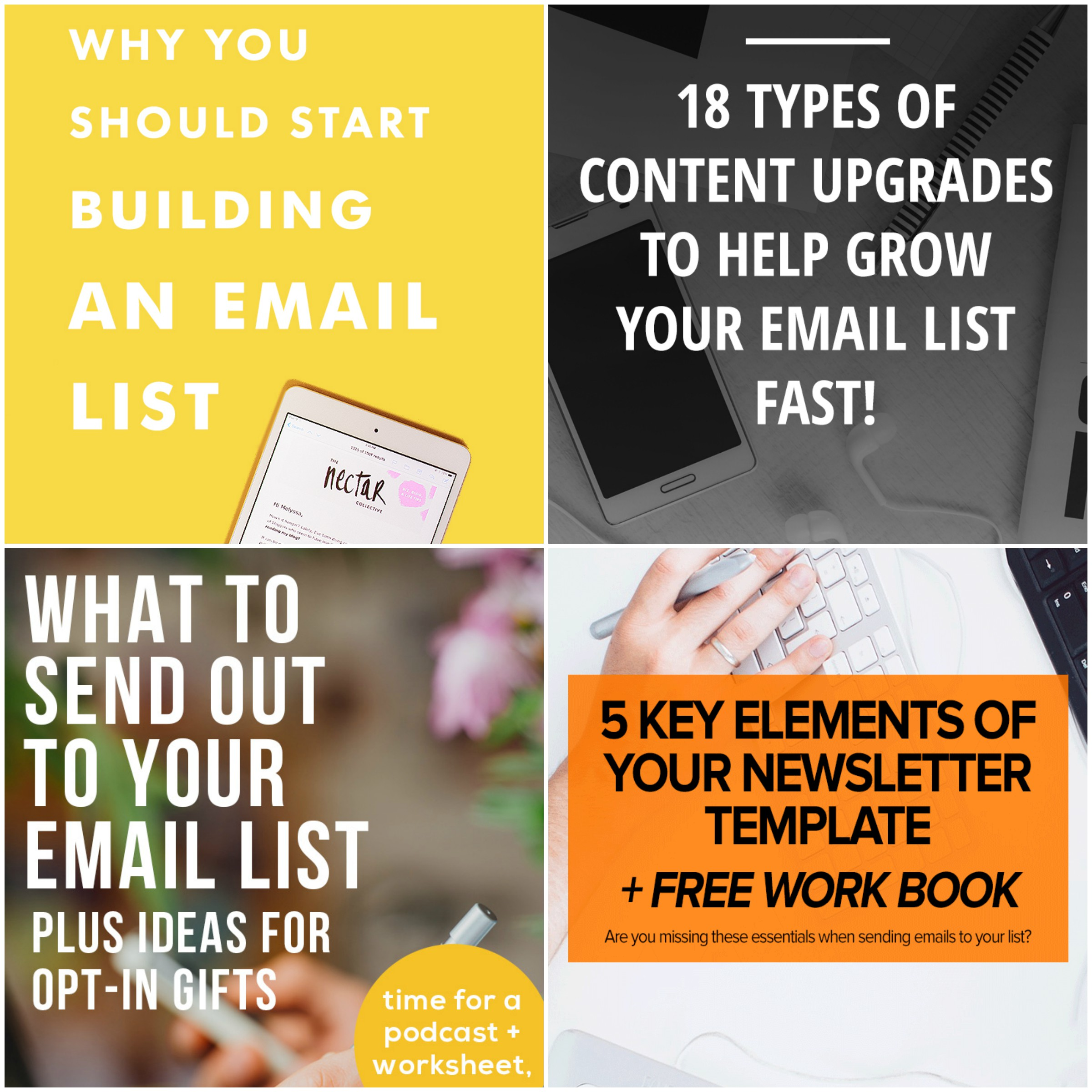 Why You Should Start Building An Email List via The Nectar Collective  /  18 Type Of Content Upgrades To Help Grow Your Email List via XOSarah  /  What To Send Out To Your Email List Plus Ideas For Opt-In Gifts via ByRegina  /  5 Key Elements of Your Newsletter Template via Autumn Leaves